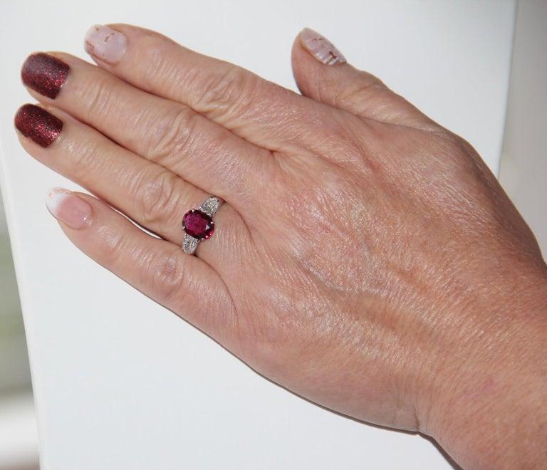 Handcraft Ruby 18 Karat White Gold Diamonds Engagement Ring For Sale 10