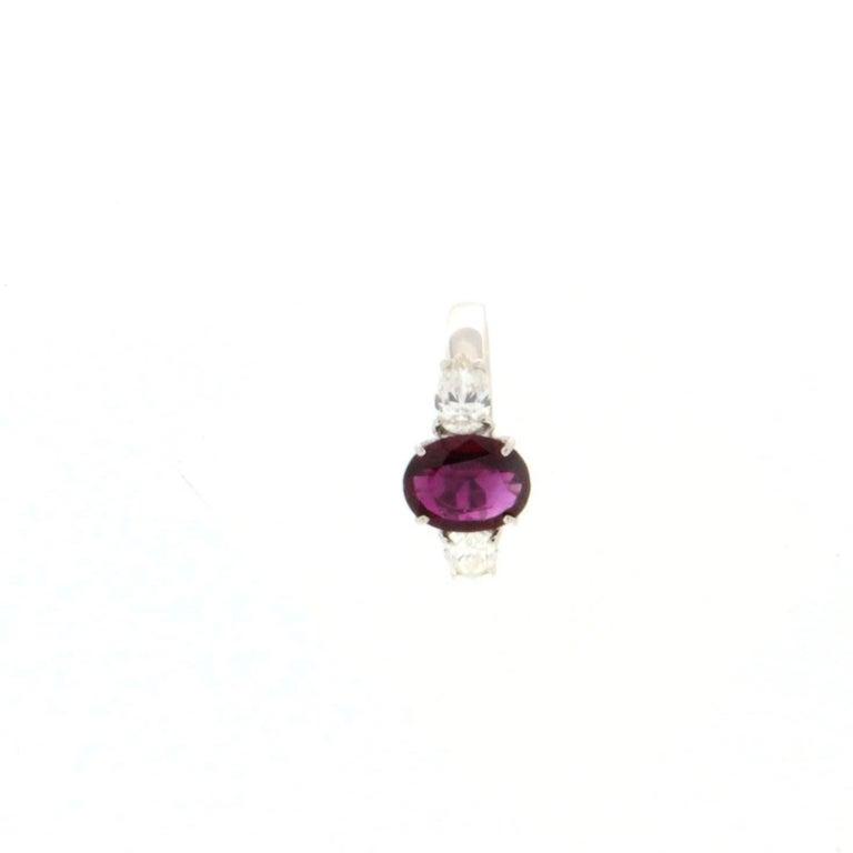 Brilliant Cut Handcraft Ruby 18 Karat White Gold Diamonds Engagement Ring For Sale