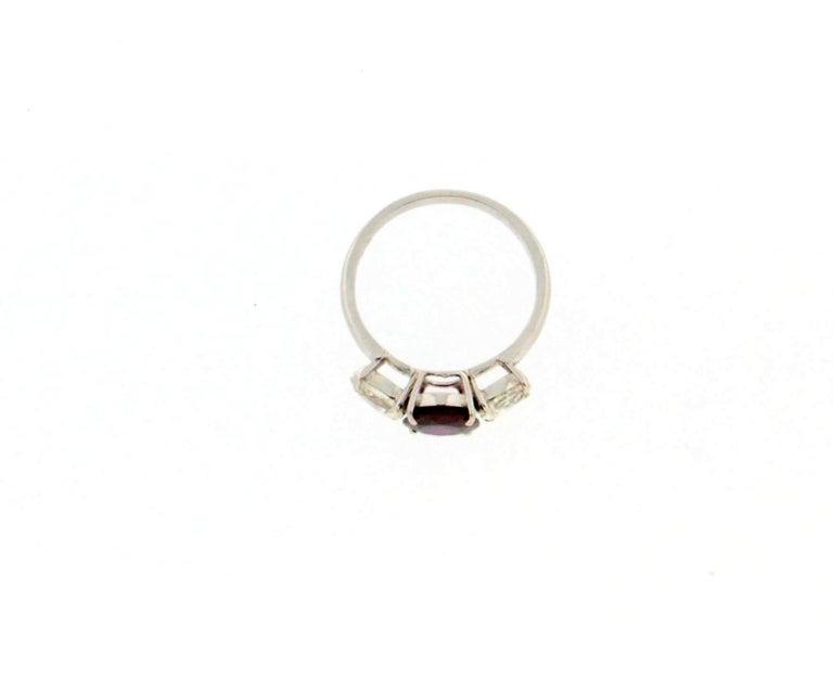Women's or Men's Handcraft Ruby 18 Karat White Gold Diamonds Engagement Ring For Sale