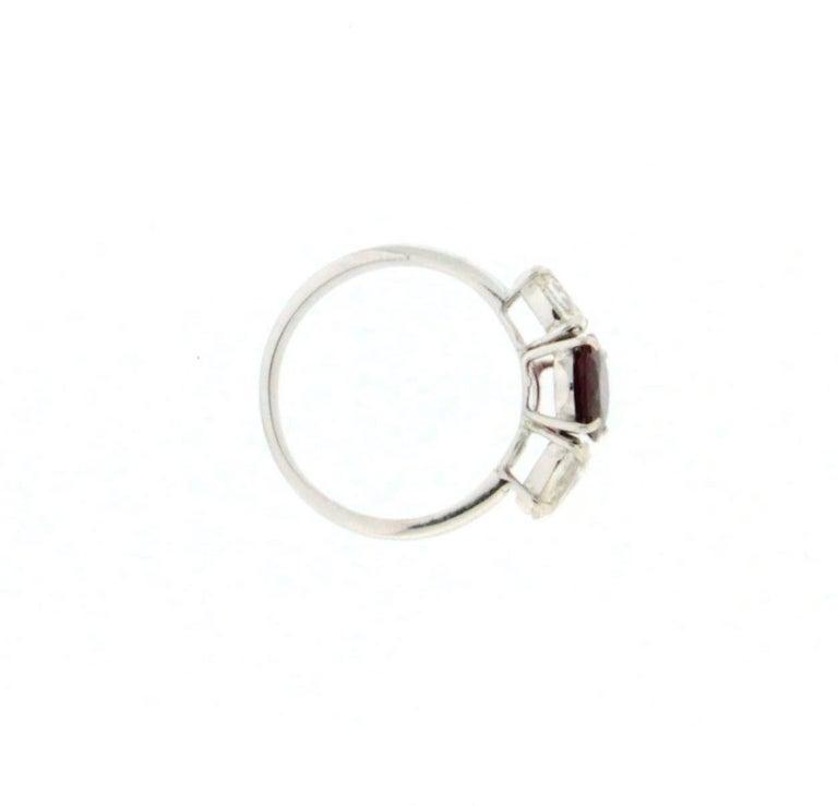 Handcraft Ruby 18 Karat White Gold Diamonds Engagement Ring For Sale 1