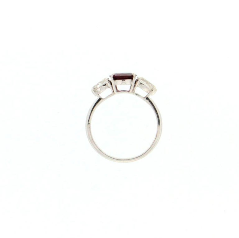 Handcraft Ruby 18 Karat White Gold Diamonds Engagement Ring For Sale 2