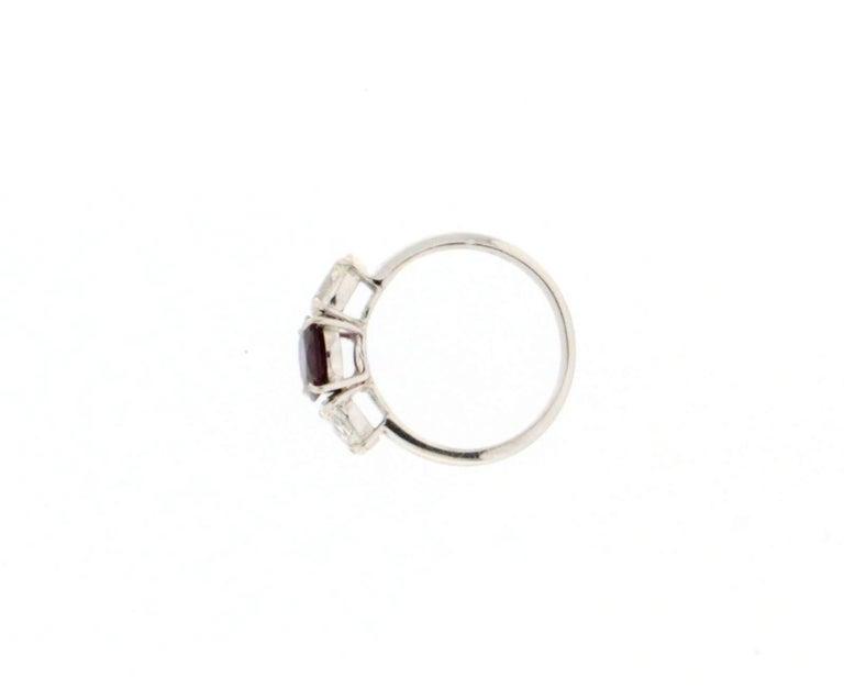 Handcraft Ruby 18 Karat White Gold Diamonds Engagement Ring For Sale 3