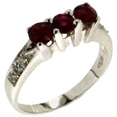 Handcraft Ruby 18 Karat White Gold Diamonds Engagement Ring