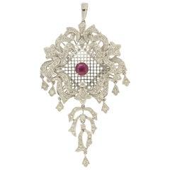 Handcraft Ruby 18 Karat White Gold Diamonds Pendant Necklace