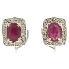 Handcraft Ruby 18 Karat White Gold Diamonds Stud Earrings