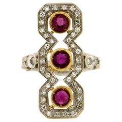 Handcraft Ruby 18 Karat Yellow and White Gold Diamonds Cocktail Ring