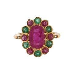 Handcraft Ruby 18 Karat Yellow Gold Emeralds Diamonds Cocktail Ring