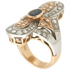 Handcraft Sapphire 14 Karat Yellow and Silver Gold Diamonds Cocktail Ring