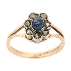 Handcraft Sapphire 14 Karat Yellow Gold and Silver Diamonds Cocktail Ring