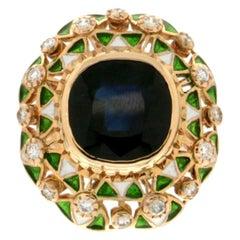 Handcraft Sapphire 14 Karat Yellow Gold Diamonds Cocktail Ring