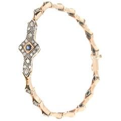 Handcraft Sapphire 14 Karat Yellow Gold Diamonds Cuff Bracelet