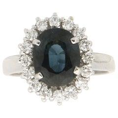 Handcraft Sapphire 18 Karat White Gold Diamonds Cocktail Ring