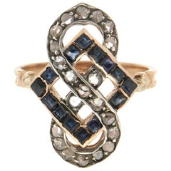 Handcraft Sapphires 14 Karat Yellow Gold Diamonds Cocktail Ring