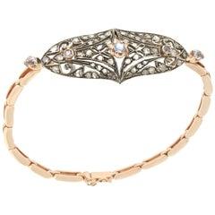 Handcraft Sapphires 14 Karat Yellow Gold Diamonds Cuff Bracelet