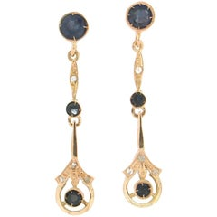 Handcraft Sapphires 14 Karat Yellow Gold Diamonds Drop Earrings
