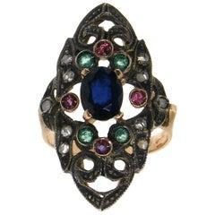 Handcraft Sapphires 14 Karat Yellow Gold Old Diamonds Cocktail Ring