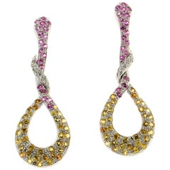 Handcraft Sapphires 18 Karat White Gold Diamonds Drop Earrings