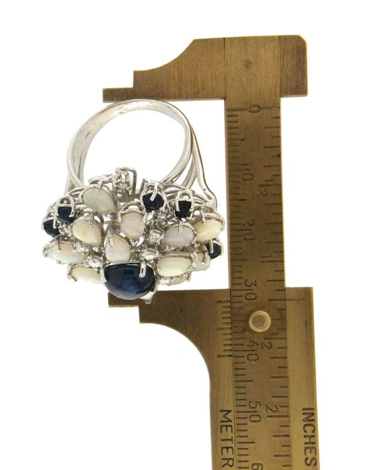 Handcraft Sapphires 18 Karat White Gold Diamonds Opal Cocktail Ring For Sale 4
