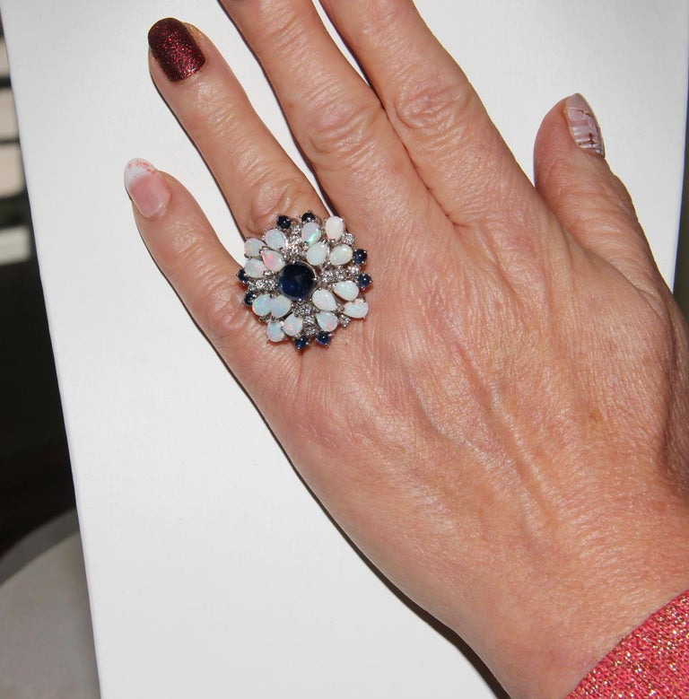 Handcraft Sapphires 18 Karat White Gold Diamonds Opal Cocktail Ring For Sale 6