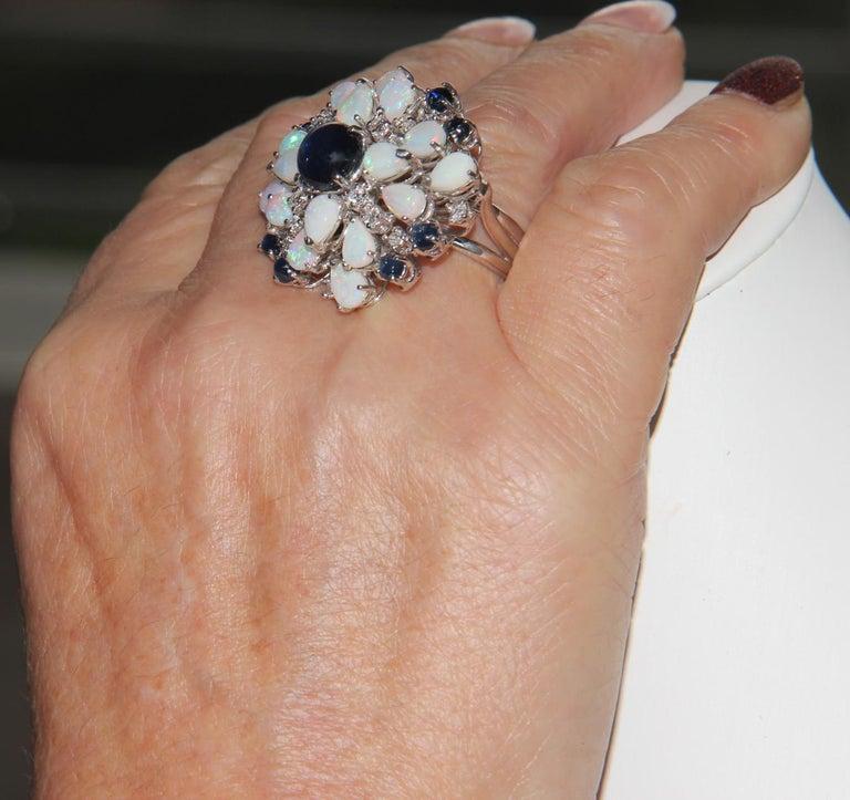 Handcraft Sapphires 18 Karat White Gold Diamonds Opal Cocktail Ring For Sale 7