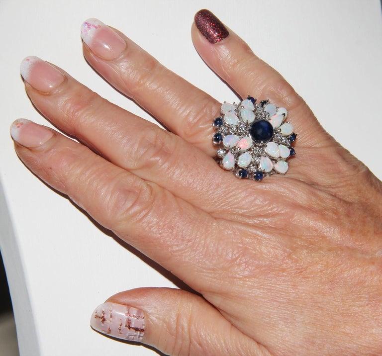 Handcraft Sapphires 18 Karat White Gold Diamonds Opal Cocktail Ring For Sale 8