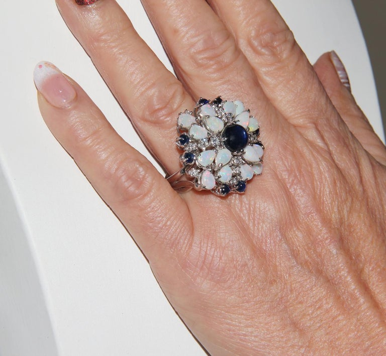 Handcraft Sapphires 18 Karat White Gold Diamonds Opal Cocktail Ring For Sale 9