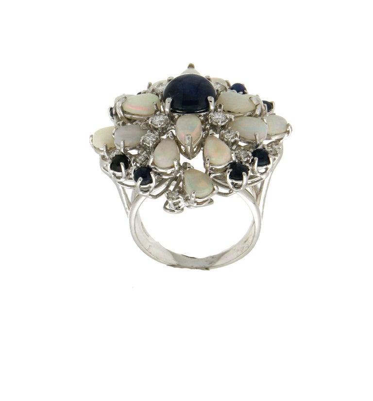Artisan Handcraft Sapphires 18 Karat White Gold Diamonds Opal Cocktail Ring For Sale