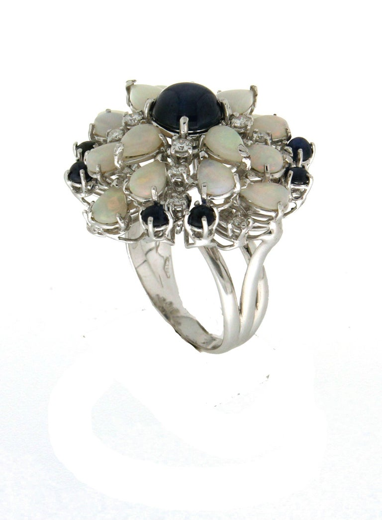 Cabochon Handcraft Sapphires 18 Karat White Gold Diamonds Opal Cocktail Ring For Sale