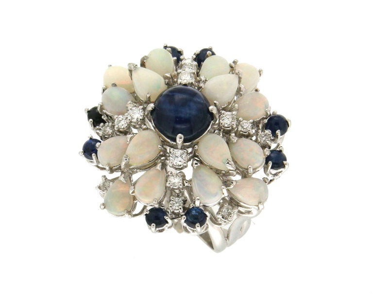 Handcraft Sapphires 18 Karat White Gold Diamonds Opal Cocktail Ring In New Condition For Sale In Marcianise, IT