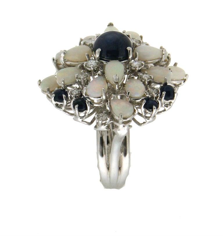 Women's or Men's Handcraft Sapphires 18 Karat White Gold Diamonds Opal Cocktail Ring For Sale