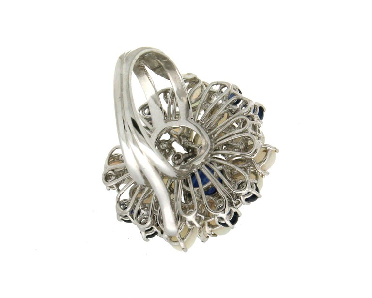 Handcraft Sapphires 18 Karat White Gold Diamonds Opal Cocktail Ring For Sale 1