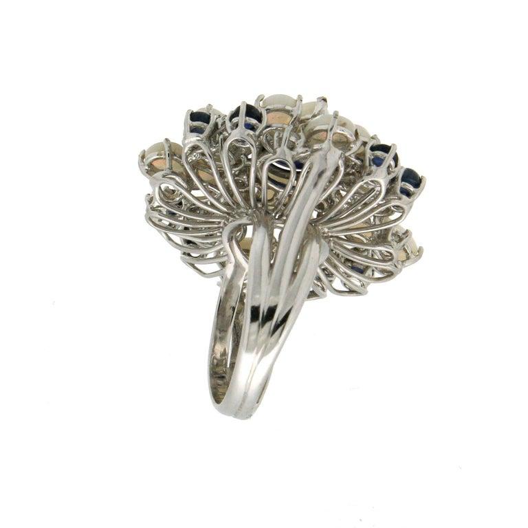 Handcraft Sapphires 18 Karat White Gold Diamonds Opal Cocktail Ring For Sale 2