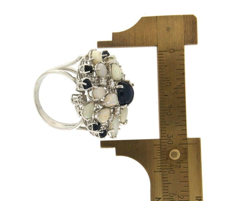 Handcraft Sapphires 18 Karat White Gold Diamonds Opal Cocktail Ring For Sale 3