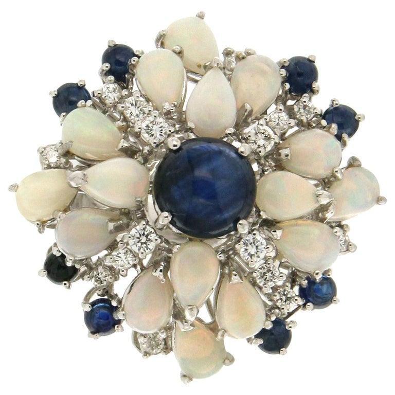 Handcraft Sapphires 18 Karat White Gold Diamonds Opal Cocktail Ring For Sale
