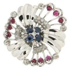 Handcraft Sapphires 18 Karat White Gold Ruby Diamonds Cocktail Ring