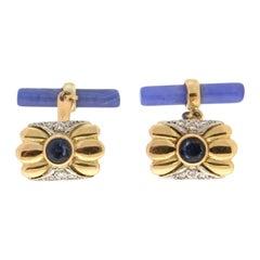 Handcraft Sapphires 18 Karat Yellow Gold Diamonds Blue Agate Barrels Cufflinks