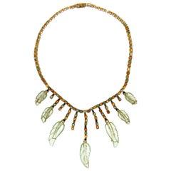 Handcraft Sapphires 18 Karat Yellow Gold Quartz Choker Necklace