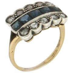 Handcraft Sapphires 18 Karat Yellow Gold Rose Cut Diamonds Cocktail Ring