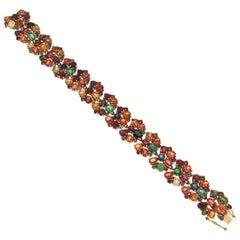Handcraft Sapphires 18 Karat Yellow Gold Ruby Emeralds Cuff Bracelet