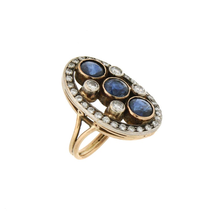 Artisan Handcraft Sapphires 18 Kt Yellow Gold Diamonds Cocktail Ring For Sale