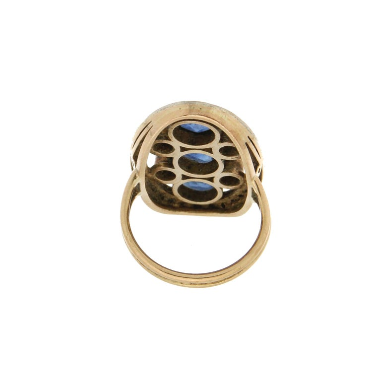 Women's Handcraft Sapphires 18 Kt Yellow Gold Diamonds Cocktail Ring For Sale