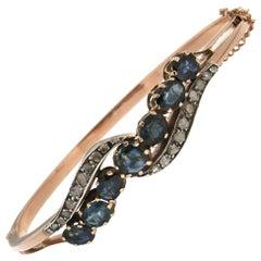 Handcraft Sapphires 9 Karat Yellow Gold Diamonds Clamper Bracelet