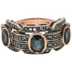 Handcraft Sapphires 9 Karat Yellow Gold Old Diamonds Cocktail Ring