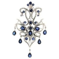 Handcraft Sapphires Drops 18 Karat White Gold Diamonds Pendant Necklace