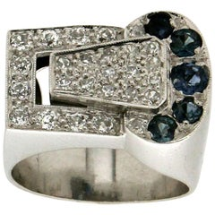 Handcraft Sapphires Platinum Diamonds Cocktail Ring