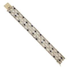 Handcraft Sapphires Platinum Diamonds Cuff Bracelet