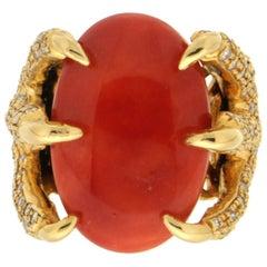Handcraft Sardinian Coral 14 Karat Yellow Gold Diamonds Cocktail Ring