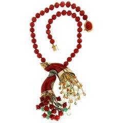 Handcraft Sardinian Coral 14 Karat Yellow Gold Diamonds Pendant Necklace