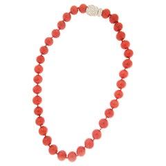 Handcraft Sardinian Coral 18 Karat White Gold Diamonds Beaded Necklace