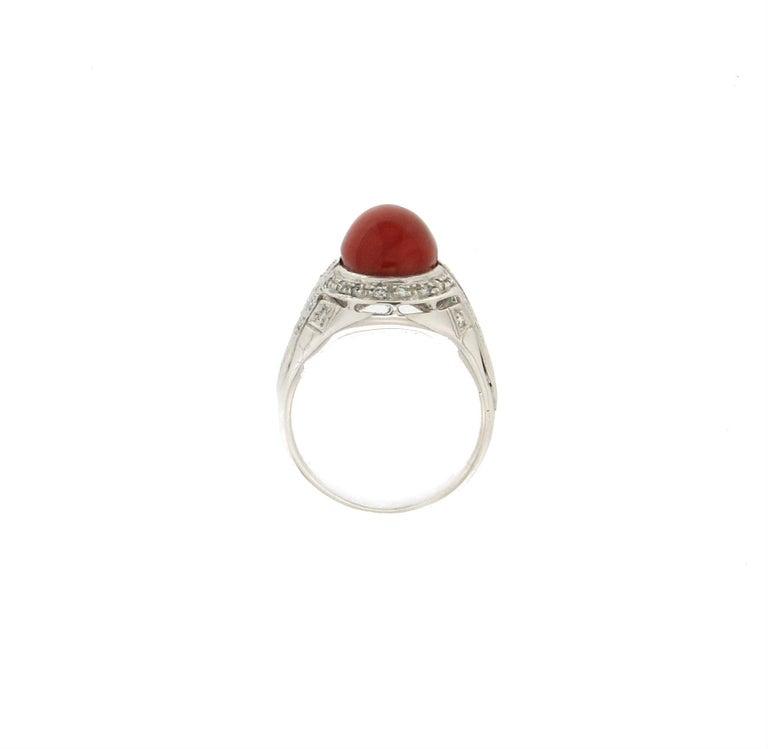 Artisan Handcraft Sardinian Coral 18 Karat White Gold Diamonds Cocktail Ring For Sale